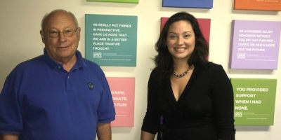 Steve Jones, HCBA Recording Secretary and owner of Black River Candy Shoppe, with Cynthia Gutierrez Bernstein, CHN Executive Director